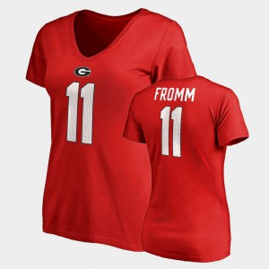 GA Bulldogs #11 For Women's Jake Fromm T-Shirt Red Stitched Name & Number V-Neck College Legends 978569-476