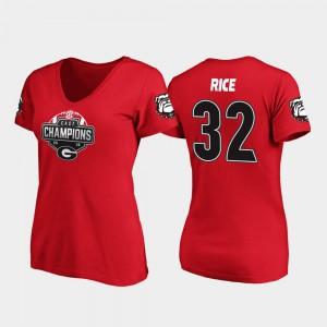 GA Bulldogs #32 Women's Monty Rice T-Shirt Red V-Neck 2019 SEC East Football Division Champions Stitch 212236-473