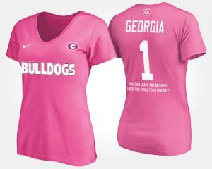 UGA #1 Women T-Shirt Pink No.1 Short Sleeve With Message High School 497044-520