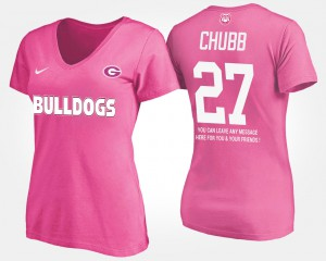 UGA Bulldogs #27 For Women Nick Chubb T-Shirt Pink Player With Message 987942-393