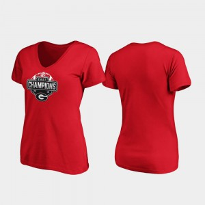 GA Bulldogs For Women's T-Shirt Red Player V-Neck 2019 SEC East Football Division Champions 422465-463