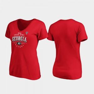 University of Georgia Ladies T-Shirt Red Alumni Tackle V-Neck 2020 Sugar Bowl Bound 881791-114