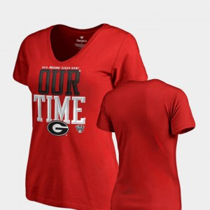 UGA Bulldogs For Women T-Shirt Red Alumni Counter V-Neck 2019 Sugar Bowl Bound 771595-485
