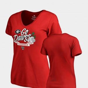 University of Georgia Women T-Shirt Red Dime V-Neck 2019 Sugar Bowl Bound Official 318340-898