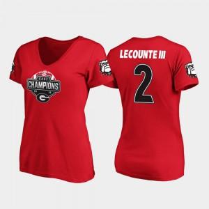 UGA Bulldogs #2 Women's Richard LeCounte III T-Shirt Red V-Neck 2019 SEC East Football Division Champions Alumni 466525-751