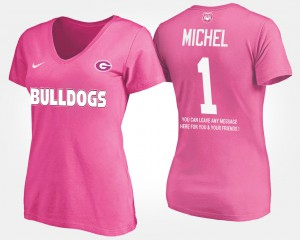 GA Bulldogs #1 For Women's Sony Michel T-Shirt Pink NCAA With Message 534852-870