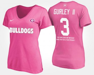 UGA Bulldogs #3 For Women's Todd Gurley II T-Shirt Pink Official With Message 432014-728